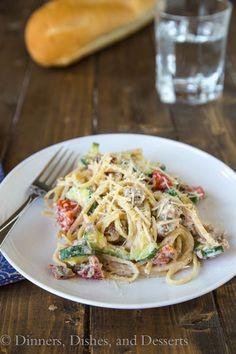 Creamy Zucchini, Tomato & Ricotta Pasta {Dinners, Dishes, and Desserts}