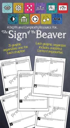 Depth and Complexity graphic organizers for each chapter of The Sign of the Beaver. $
