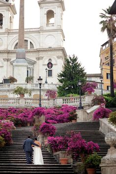 A lovely photo of a newly-wed couple at the Spanish Steps ~ Italy.