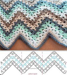 Punto/Stitch: V- stitch crochet ripple afghan pattern / punto zig zag afgano | Tejido Facil