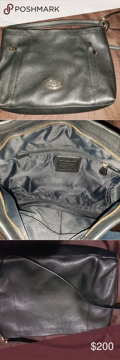 Genuine COACH leather purse. Leather, black.  Used but in excellent condition. Coach Bags Shoulder Bags