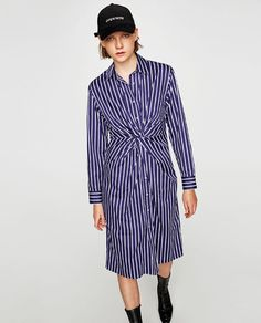 Image 2 of STRIPED TUNIC WITH KNOT from Zara