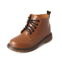 WeiPoot Women's Low-Heels Solid Round Closed Toe Soft Leather Lace-up Boots * More info could be found at the image url.