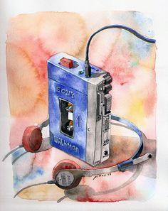 Watercolor Painting (REPRO): Sony Walkman TPS-L2. $40.00, via Etsy.