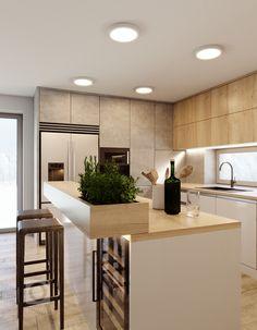 Kitchen Room Design, Kitchen Cabinet Design, Home Decor Kitchen, Kitchen Living, Interior Design Kitchen, Contemporary Kitchen Cabinets, Modern Kitchen Interiors, Contemporary Kitchen Design, Modern Contemporary