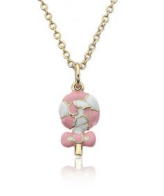 Take a look at this Pink & Gold Swirl Lollipop Pendant Necklace by Little Miss Twin Stars on #zulily today!