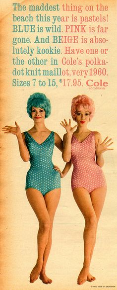 the maddest thing on the beach pastel polka dot swimsuits, vintage Cole of California 1960 Vintage Mode, Look Vintage, Vintage Beauty, Vintage Photos, Vintage Posters, Retro Vintage, Vintage Items, 1960s Fashion, Vintage Fashion