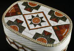 Quill Basket (Oval Geometric design) by Lorraine Besito, Ojibwa (Saugeen) artist. Medium: birch bark, sweet grass, dyed porcupine quills. Shown at Spirit Wrestler Gallery, Vancouver, BC.