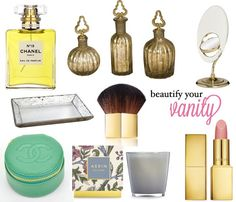 The Decorista-Domestic Bliss: How to beautify your Vanity. Dressing Table Vanity, Dressing Tables, Perfume Organization, Makeup Organization, Table Accessories, Chanel Paris, Mac Lipstick, Bedroom Inspiration, Beautiful Interiors