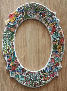 ÇİNİ AYNA #çini, #çiniayna #tiles #turkey #handmade #çinipano #dikili #elyapımı #tasarım #çinidükkanı