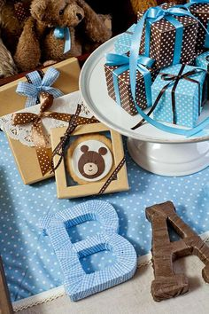 Blue and brown teddy bears Baby Shower Party Ideas   Photo 1 of 24   Catch My Party
