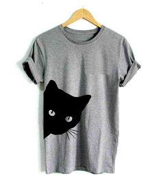 Women Girl Cute Cat Print Short Sleeve Casual T-shirt Tops Blouse Gift - Cat Tshirt Casual T Shirts, Casual Tops, Short Shirts, Comfy Casual, T Shirt Chat, T-shirt Humour, Shirt Bluse, Pullover, Sweatshirt