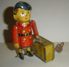 antique wind-up Trunk Porter walking litho tin clockwork toy ARGENTINA 1940