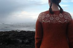 The pattern is Rydraud on Ravelry by Steinunn Birna Gudjondottir. She picked for this garment is from the book Ornaments and Patterns found in Iceland. It contains a collection of traditional textile patterns from Icelandic manuscripts from as early as Knit Cardigan Pattern, Sweater Knitting Patterns, Knitting Charts, Jacket Pattern, Icelandic Sweaters, Knit Sweaters, Free Pattern Download, Wrap Sweater, Couture