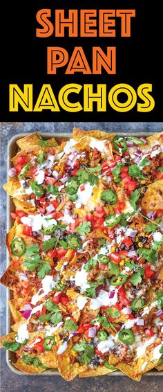 Sheet Pan Nachos - Loaded nachos that are guaranteed to be a crowd-pleaser! Simply layer your toppings, bake onto a sheet pan and serve. Done. Easy peasy!