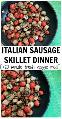 Italian Sausage Skillet Dinner is packed with lean protein, Italian flavors and plenty of fresh vegetables. Plus it's ready in less than 20 minutes, making it one easy weeknight meal. via Mom to Mom Nutrition Barley Nutrition, Cheese Nutrition, Vegetable Nutrition, Healthy Summer Recipes, Summer Salad Recipes, Healthy Lunches, Different Vegetables, Fresh Vegetables, Veggies