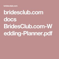 Bridesclub Docs BridesClub Wedding Plannerpdf