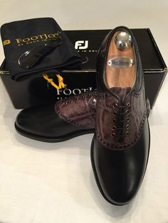 FootJoy Classics Dry Premiere Golf Shoes - 9 C - Black w/Exotic Slate Saddle