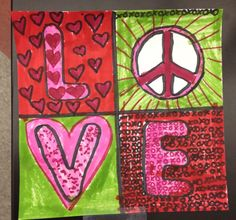 """After looking at the work of artist Robert Indiana, students created their own work of """"LOVE"""""""