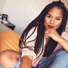 HAIRSPIRATION| #MUA @jomichelleartistry looks so gorgeous in these #boxbraids❤️ So pretty #VoiceOfHair ========================= Go to VoiceOfHair.com ========================= Find hairstyles and hair tips! =========================