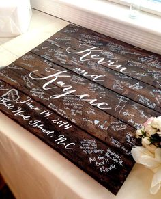 Reclaimed wood finds new life in this wedding guestbook sign. This is a truly unique and beautiful way to display your wedding guestbook in your home year round. Each wood sign is fashioned from old pallets and hand-painted with the special couples name and even the established date and location. Due to its reclaimed and hand-painted nature, each one will look a little different. Be sure to add your personalization to the notes section when checking out as well as the desired design style…