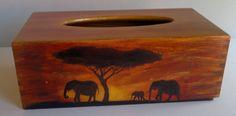 wooden tissue box elephants by PtahArtGallery on Etsy, €29.00