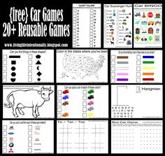 awesome road trip games for kids - print and put in sheet protectors in a binder and reuse over and over!