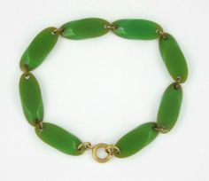 1920-40 ART DECO/VINTAGE GREEN BAKELITE BRACELET Tested