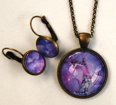 Photo pendant necklace and earring set  hydrangea  by NewCreatioNZ, $35.00