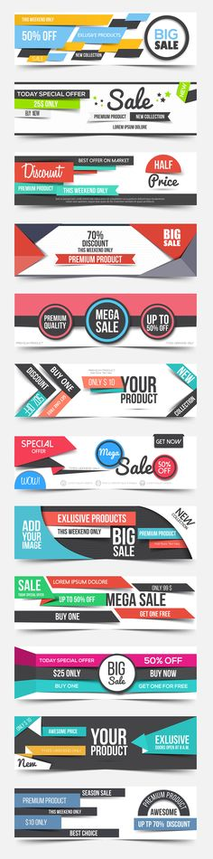 Collection of clean flat Ad Banners by Creative Graphics on @creativemarket