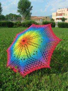 Rainbow crochet parasol