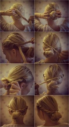 Hairstyle Tutorial: Vintage braided bun boho. ( Twist hair up and secure into bun. Start braiding a section a hair from the front of your head, bring the braid back, cross head and wrap around bun. Do the same thing on the other side of your head, secure braids with bobby pins. Decorate bun with flowers, clips, or ribbons).
