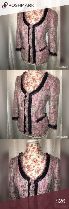 NWOT INC INT. PINK RIBBON BLAZER SZ XL This beautiful pink ribbon blazer is made by Inc. international and has frayed edges with ribbon around the collar down the front and the arms it has two pockets in the front and is in excellent condition! It is 21 inches across the chest and 23 inches from the shoulders size extra large! INC International Concepts Jackets & Coats Blazers
