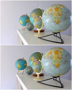 Love the colours in these vintage globes