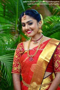 Traditional Southern Indian would-be bride, Nayana wears bridal silk saree and…
