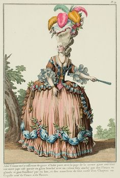 """Cassidy: A Most Beguiling Accomplishment: Galerie des Modes, 10e Cahier, 1e Figure: """"Young Woman in a Circassienne of puce Italian gauze, with a petticoat of the same gauze covering another pink petticoat trimmed on the bottom with gauze pinned with a blue ribbon attached with Flowers and tassels and bouillonné gauze, and with manchettes of filet lace.  Coiffed with a Hat en coquille, decorated with Flowers and Feathers. (1778)"""" See blog post for translation of entire description."""
