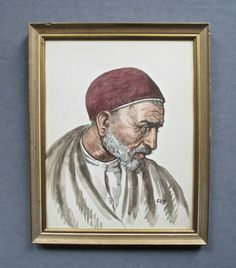 Painting: Vintage Middle Eastern Man Watercolor Portrait Painting
