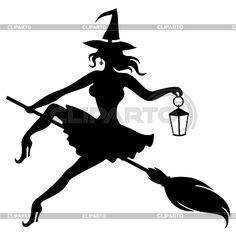 Silueta bruja volando en la escoba y la celebración de linterna | Ilustración vectorial de stock | ID 5229443