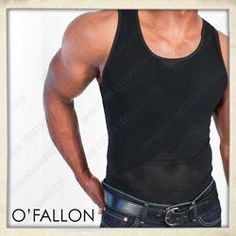 O FALLON MENS BLACK  Designed to bind your chest, flatten your stomach and press against your back for support so that you can always leave your home looking your best. These body shaping shirts make excellent undershirts so you can have your body looking tight in your favorite top, but also look great when worn by themselves. (available in Black or White) (sizes XXS - XXL)