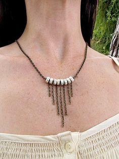 Magnesite howlite graduated brass bronze chain fringe minimalist beauty necklace