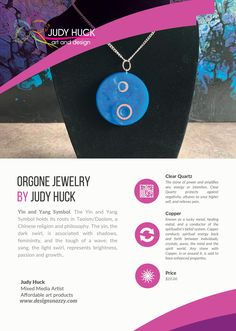 Orgone jewelry by Judy Huck Copper Symbol, Taoism, Affordable Art, Clear Quartz, Yin Yang, Framed Art Prints, Symbols, Jewelry, Design