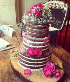 Beautiful naked chocolate wedding cake.