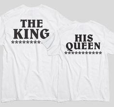 Tricourile cu mesaje pentru cuplurile de indragostiti sunt perfecte ca tu si partenerul tau sa va aratati dragostea unul fata de celalalt. Fie ca decizi sa le cumperi pentru iubitul sau iubita ta, un tricou cu mesaje haios si deja devenit clasic precum acesta, The King and his Queen este ideal pentru a-ti surprinde iubitul sau iubita. King, Queen, Sports, T Shirt, Tops, Fashion, Hs Sports, Supreme T Shirt, Moda