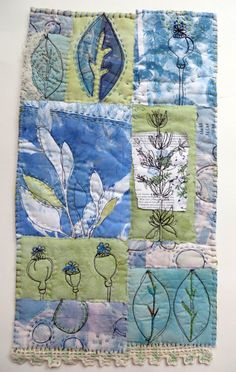 House of Blue Leaves  fiber art wall hanging by janeville on Etsy