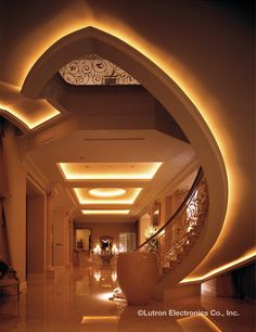 Highlight architectural masterpieces with proper light control. http://www.lutron.com/en-US/Residential-Commercial-Solutions/Pages/Residential-Solutions/Residential-App/ResidentialApplications.aspx?utm_source=Pinterest_medium=Foyers_ThaiGlow_campaign=SocialMedia