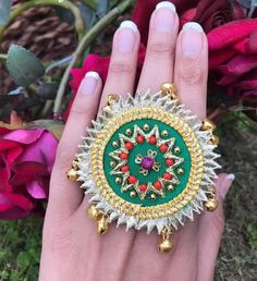 Fancy Gota Jewellery Designs to add Bling & Edge to your Look Fabric Necklace, Fabric Jewelry, Jewellery Designs, Gota Patti Jewellery, Handmade Rakhi, Rakhi Design, Hand Accessories, Bridal Jewelry