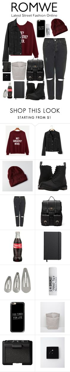 """ROMWE"" by melisafabi ❤ liked on Polyvore featuring Gap, American Eagle Outfitters, Dr. Martens, Topshop, Sole Society, Shinola, L:A Bruket, Casetify, Essent'ial and NARS Cosmetics"