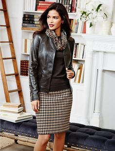 Houndstooth skirt, leather, silk scarf. add tight and Lanvin kitten heels...