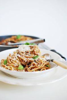 linguine with aubergine tomatO & basil
