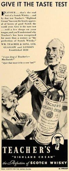 1936 Ad Teacher's Highland Cream Scotch Whisky Alcohol - ORIGINAL FT9